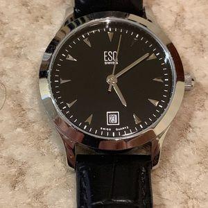 ESQ (Movado) Swiss Like New Black Date Watch.